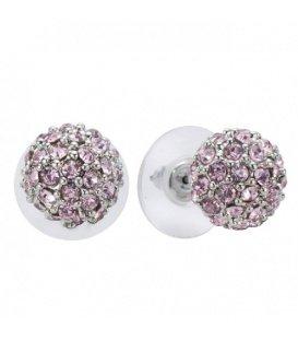 Bolvormige oorstekers met roze steentjes