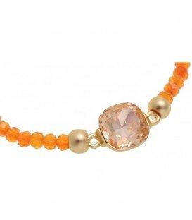 Oranje armband met goudkleurige accenten en facet kralen