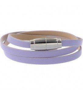 Lila wikkelarmband met zilverkleurige magneetsluiting