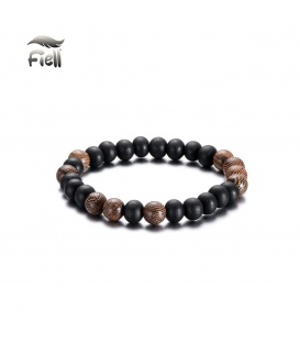 Elastische armband met zwarte en bruine kralen (19cm)
