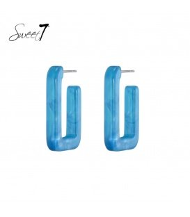 Blauwe vierkante oorstekers