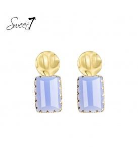 Goudkleurige oorbellen met een blauwe vierkante steen