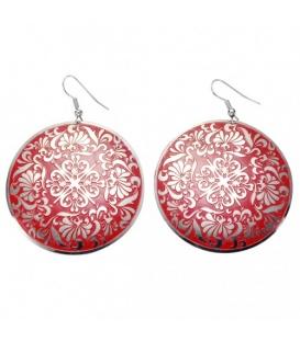 Oorbellen met een ronde hanger met rood design