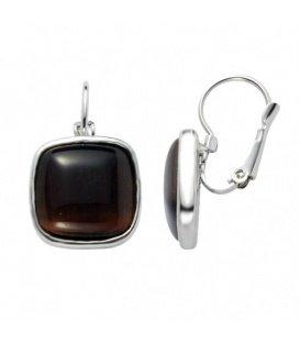 Zilverkleurige oorstekers in vierkante vorm met een bruine steen