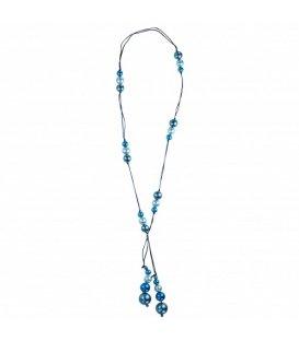 Lange ketting van suède koord met blauwe parels