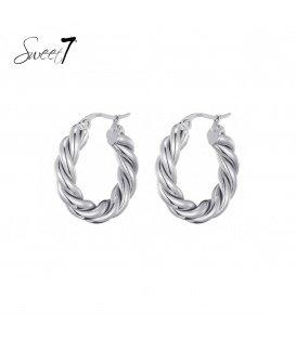 Zilverkleurige ovale gedraaide oorbellen