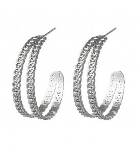Zilverkleurige oorbellen met 2 rijen van kleine schakels