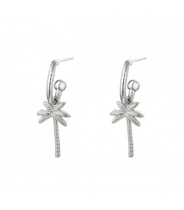 Leuke zilverkleurige oorhangers met een palmboom als hanger