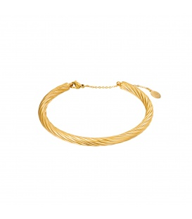 Goudkleurige bangle armband met een gedraaid design