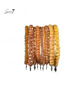 Mooie 9 strengs armband met bruin beige facet kralen
