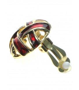 Ronde rood met goudkleurige open clip oorbellen