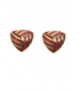 Driehoekige rood met goudkleurige clip oorbellen