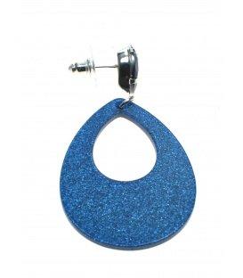 Blauwe oorbellen met een ovale hanger
