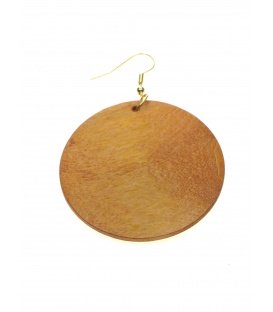 Houten licht bruine oorbellen in ronde vorm