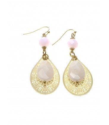 Goudkleurige ovale oorhangers met roze natuursteen kralen