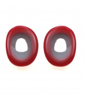 Culture Mix Rode ovale oorclips met helder witte inleg van parelmoer