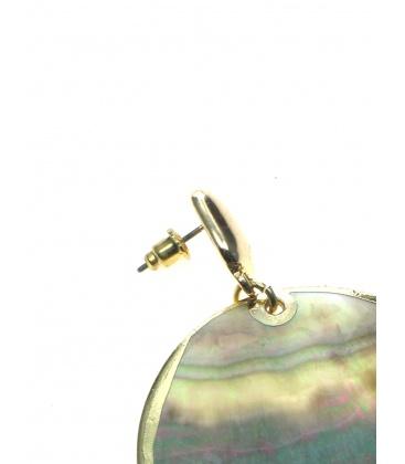 Parelmoer oorbellen met goudkleurige rand en steker