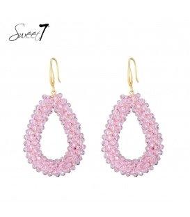 Roze kralen oorhangers met ovale hanger