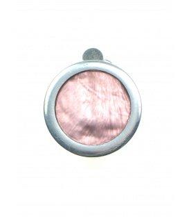 Roze oorclips met een zilverkleurige rand van Culture Mix