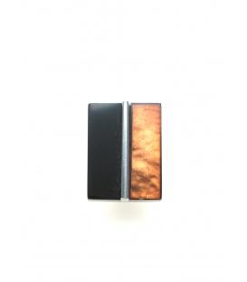Oranje met zwarte vierkante oorclips van Culture Mix