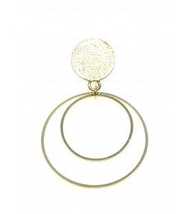 Goudkleurige oorclips met twee ronde hanger