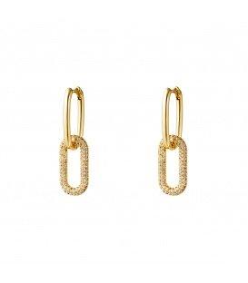 Goudkleurige oorbellen met zirkonia steentjes en ovale hangers