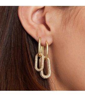 Zilverkleurige oorbellen met zirkonia steentjes en ovale hangers