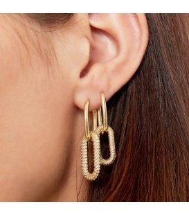 Zilverkleurige oorbellen met 1 hanger van zirkonia steentjes