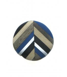 Blauw met bruin en zilverkleur ronde oorclips van Culture Mix