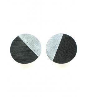 Zwartgrijze ronde oorclips met zilverkleurige inleg