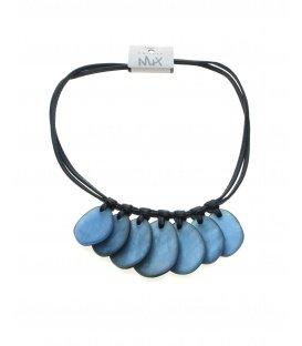 Zwarte koord halsketting met blauwe elementen van Culture Mix.