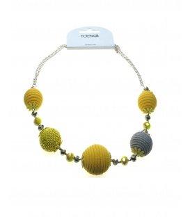 Geel met grijze bollen halskettingen van Toenga