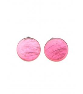 Roze ronde oorclips van Culture Mix