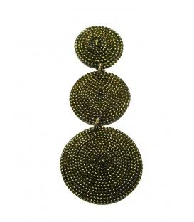Goudkleurige lange oorclips van Culture Mix gemaakt van kokos en goudkleurig draad