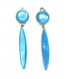Culture Mix lange blauwe oorclips