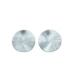 Zilverkleurige gematteerde ronde oorclips van Culture Mix