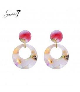 Gekleurde oorhangers met een ronde hanger
