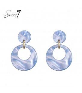 Blauwe oorhangers met een ronde hanger