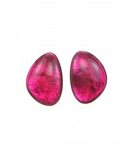 Culture Mix fuchsia roze oorclips met parelmoer inleg
