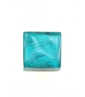 Vierkante groenblauwe oorclips van Culture Mix