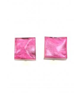 Vierkante roze oorclips van Culture Mix
