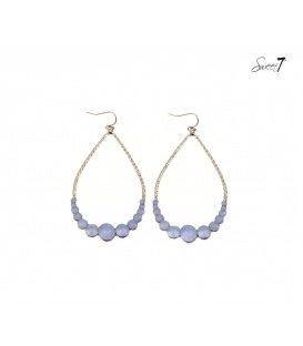 Lange goudkleurige oorbellen met blauw,witte steentjes