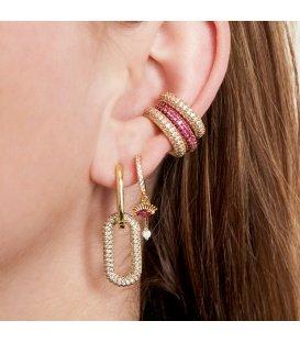 Goudkleurige earcuff met rode zirkoonsteentjes