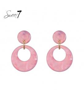 Roze lichtgewicht oorhangers met een ronde hanger