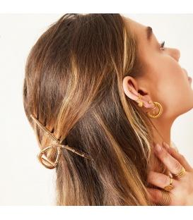 Grote goudkleurige haarclip met faux bamboe accenten