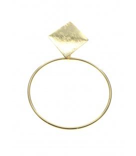 Mooie goudkleurige oorclips met ronde dunne metalen hanger en vierkant oor plaatje