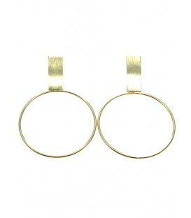 Mooie goudkleurige oorclips met ronde dunne metalen hanger en rechthoekig oor plaatje