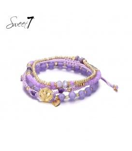 3 strengs paarse armband van glaskralen