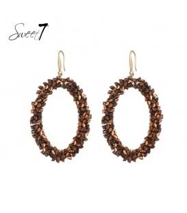 Bruine ovale oorbellen met glaskralen