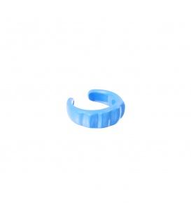 Blauwe earcuff geribbeld